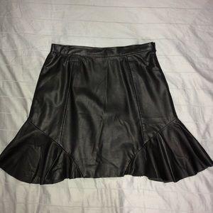 Black Leather Flounce Skirt S Anthropologie {tl}
